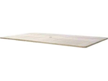 Ebel Portofino Aluminum 112''W x 41''D Rectangular Dining Table Top With Umbrella Hole