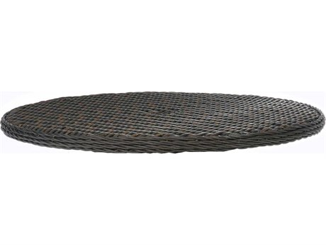 Ebel Dreux Wicker 48'' Wide Round Woven Table Top With Umbrella Hole