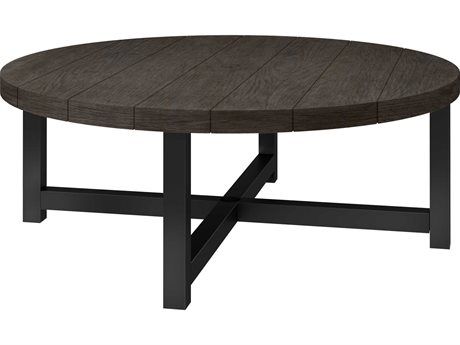 Ebel Asheville Aluminum 50''Wide Round Chat Table with Umbrella Hole PatioLiving