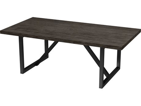 Ebel Asheville Aluminum 82''W x 40''D Rectangular Dining Table with Umbrella Hole PatioLiving