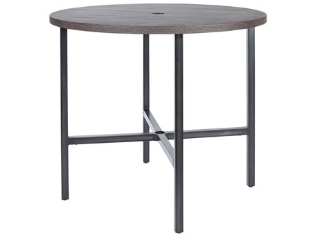 Ebel Fiore Aluminum 48'' Wide Round Bar Height Table with Umbrella Hole