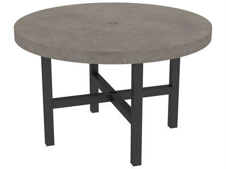 Ebel Fairbanks Aluminum 50''Wide Round Dining Table with Umbrella Hole PatioLiving