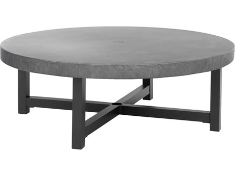 Ebel Fairbanks Aluminum Onyx 50''Wide Round Concrete Top Chat Table with Umbrella Hole