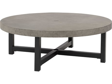 Ebel Fairbanks Aluminum 50'' Wide Round Chat Table with Umbrella Hole PatioLiving