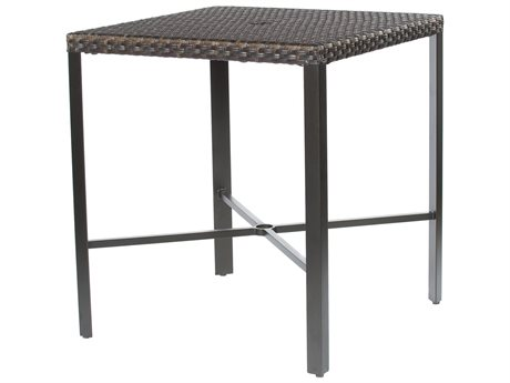 Ebel Tremont Wicker 36'' Wide Square Bar Table with Umbrella Hole
