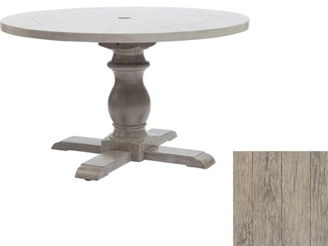 Ebel Close Out - LIMITED AVAILABLITY Mirabella Espresso Aluminum 48'' Wide Round Dining Table with Umbrella Hole