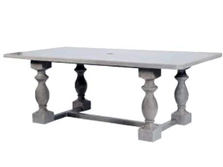 Ebel Close Out - LIMITED AVAILABLITY Mirabella Ash Aluminum 82''W x 42''D Rectangular Dining Table with Umbrella Hole