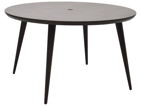 Ebel Nola Woodgrain Aluminum 54'' Wide Round Dining Table with Umbrella Hole
