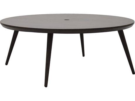 Ebel Nola Woodgrain Aluminum 48'' Wide Round Chat Table with Umbrella Hole
