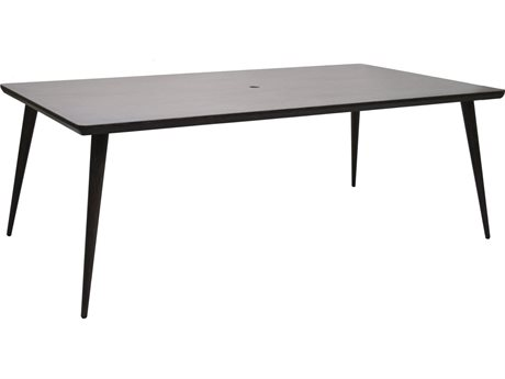 Ebel Nola Woodgrain Aluminum 84''W x 44''D Rectangular Dining Table with Umbrella Hole