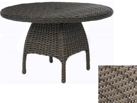 Ebel Closeout - LIMITED AVAILABLITY Dreux Driftwood Wicker 48'' Round Dining Table with Umbrella Hole