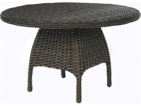 Ebel Closeout - LIMITED AVAILABLITY Dreux Chestnut Wicker 48'' Round Dining Table with Umbrella Hole