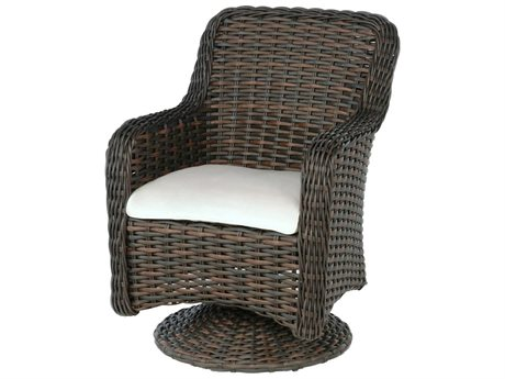 Ebel Dreux Wicker Swivel Rocker Dining Arm Chair PatioLiving