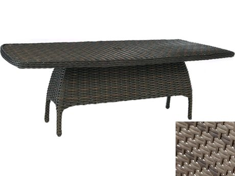 Ebel Closeout - LIMITED AVAILABLITY Dreux Driftwood Wicker 84.5''W x 44.5''D Rectangle Dining Table with Umbrella Hole