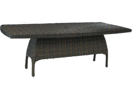 Ebel Closeout - LIMITED AVAILABLITY Dreux Chestnut Wicker 84.5''W x 44.5''D Rectangle Dining Table with Umbrella Hole