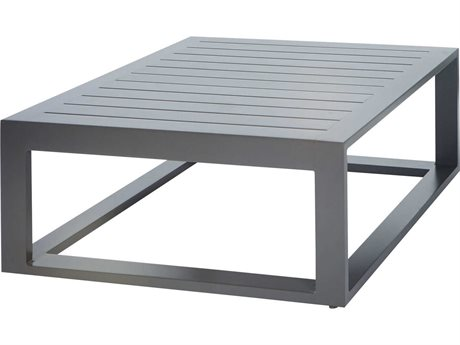 Ebel Palermo Aluminum Graphite 38''Wide Square Slatted Top Chat Table PatioLiving