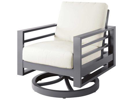 Ebel Palermo Cushion Aluminum Graphite Swivel Rocker Lounge Chair PatioLiving