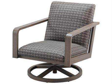 Ebel Canton Padded Wicker Aluminum Swivel Rocker Lounge Chair PatioLiving