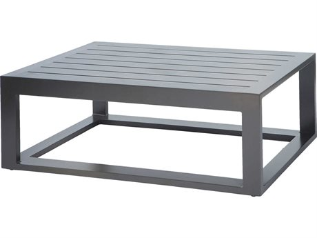Ebel Palermo Aluminum Graphite 48''W x 26''D Rectangular Slatted Top Coffee Table PatioLiving