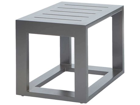 Ebel Palermo Aluminum Graphite 19''Wide Square Slatted Top End Table PatioLiving