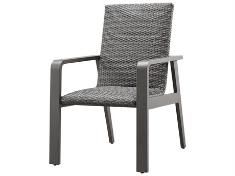 Ebel Canton Padded Wicker Aluminum Dining Arm Chair PatioLiving