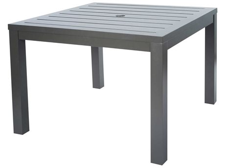 Ebel Palermo Cushion Aluminum Graphite 43''Wide Square Slatted Top Dining Table with Umbrella Hole PatioLiving