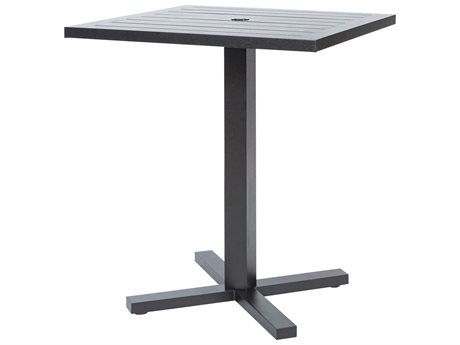 Ebel Palermo Cushion Aluminum Graphite 36''Wide Square Slatted Top Counter Height Table with Umbrella Hole PatioLiving