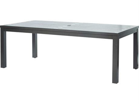 Ebel Palermo Cushion Aluminum Graphite 85''W x 42''D Rectangular Slatted Top Dining Table with Umbrella Hole PatioLiving