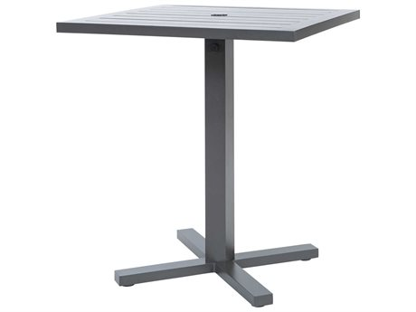 Ebel Palermo Cushion Aluminum Graphite 36''Wide Square Slatted Top Bar Height Table with Umbrella Hole PatioLiving