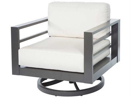 Ebel Palermo Cushion Aluminum Graphite High Back Swivel Rocker Lounge Chair PatioLiving