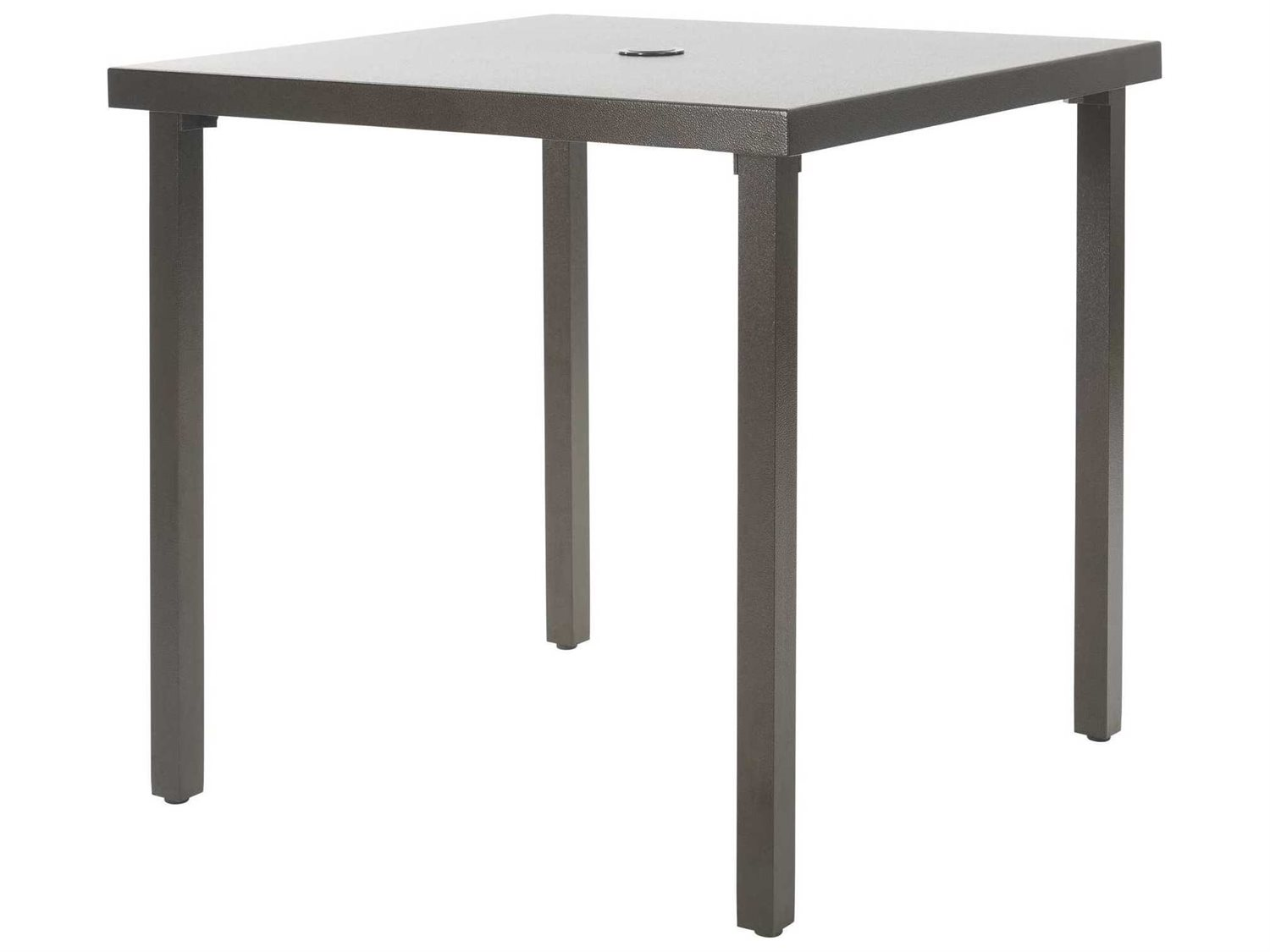 Ebel Monaco Aluminum Wide Square Dining Table With Umbrella - 30 wide outdoor dining table