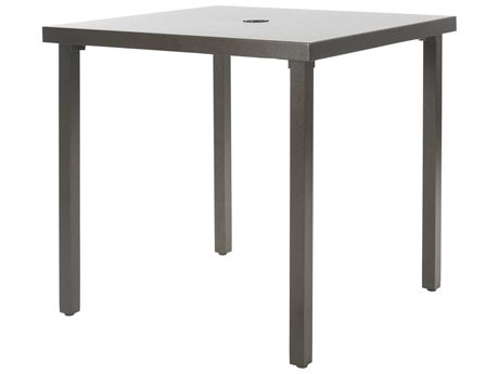 Ebel Monaco Aluminum 36''Wide Square Dining Table with Umbrella Hole PatioLiving