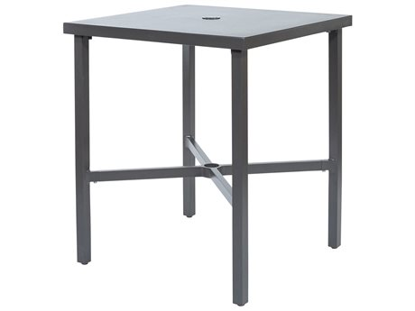 Ebel Monaco Aluminum 30'' Wide Square Counter Table with Umbrella Hole