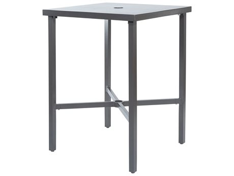 Ebel Monaco Aluminum 30'' Wide Square Bar Table with Umbrella Hole