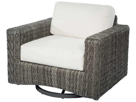 Ebel Orsay Cushion Wicker Smoke Swivel Glider Lounge Chair PatioLiving