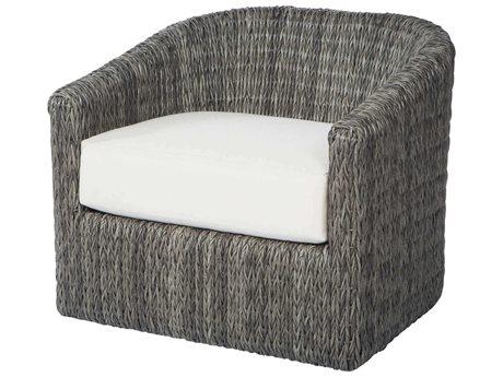 Ebel Orsay Cushion Wicker Smoke Barrel Occasional Swivel Lounge Chair PatioLiving
