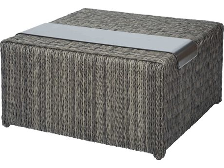 Ebel Orsay Wicker Smoke 34''Wide Square Corner / Chat Table with Removable Tray PatioLiving