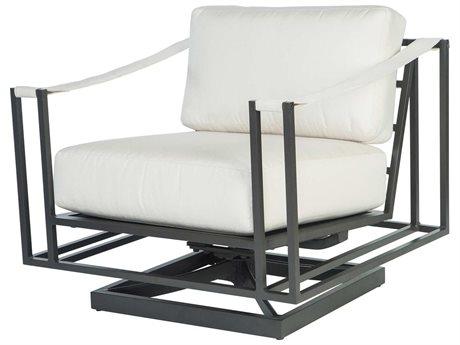 Ebel Capri Aluminum Swivel Rocker Lounge Chair with Fabric Arms