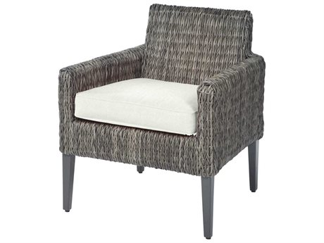 Ebel Orsay Cushion Wicker Smoke Dining Arm Chair PatioLiving