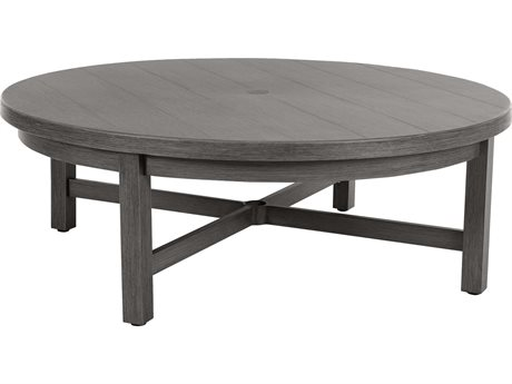 Ebel Trevi Aluminum 50''Wide Round Plank Top Chat Table
