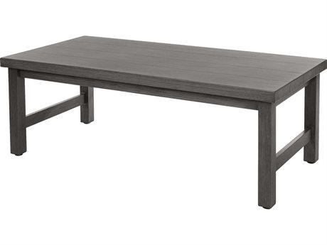 Ebel Trevi Aluminum 48''W x 25''D Rectangular Plank Top Coffee Table PatioLiving