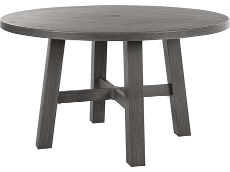 Ebel Trevi Aluminum 50''Wide Round Plank Top Dining Table with Umbrella Hole PatioLiving