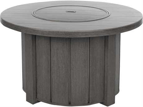 Ebel Trevi Aluminum 42''Wide Round Plank Top Fire Pit Table with Lid PatioLiving