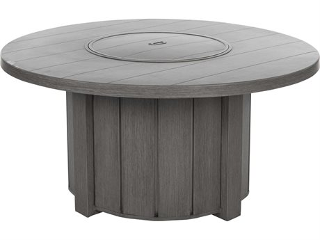 Ebel Trevi Aluminum 50''Wide Round Plank Top Fire Pit Table with Lid PatioLiving