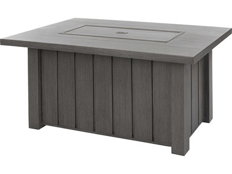 Ebel Trevi Aluminum 50''W x 32''D Rectangular Plank Top Fire Pit Table with Lid PatioLiving
