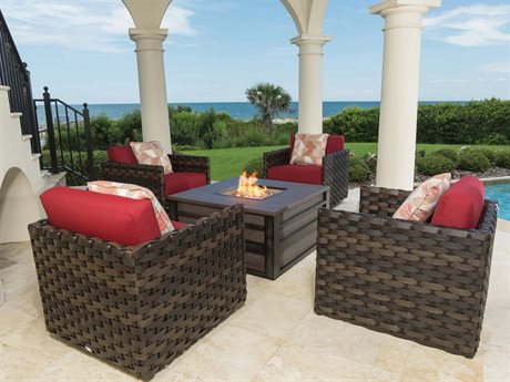 Ebel Allegre Wicker Fire Pit Lounge Set