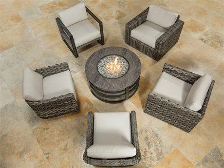 Ebel Allegre Wicker Fire Pit Lounge Set