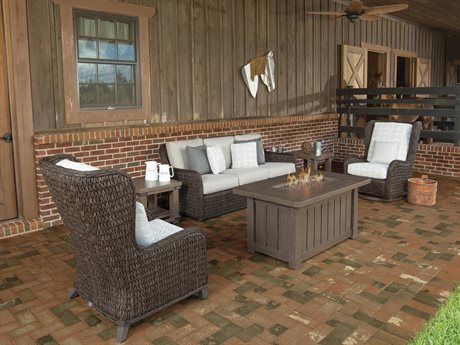 Ebel Belfort Wicker Fire Pit Lounge Set