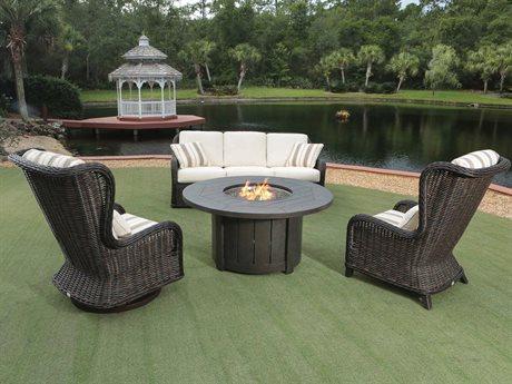 Ebel Bellevue Wicker Fire Pit Lounge Set