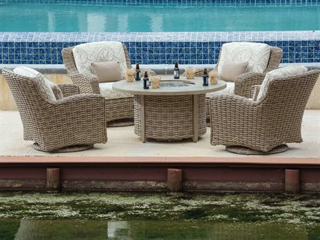 Ebel Dreux Wicker Fire Pit Lounge Set